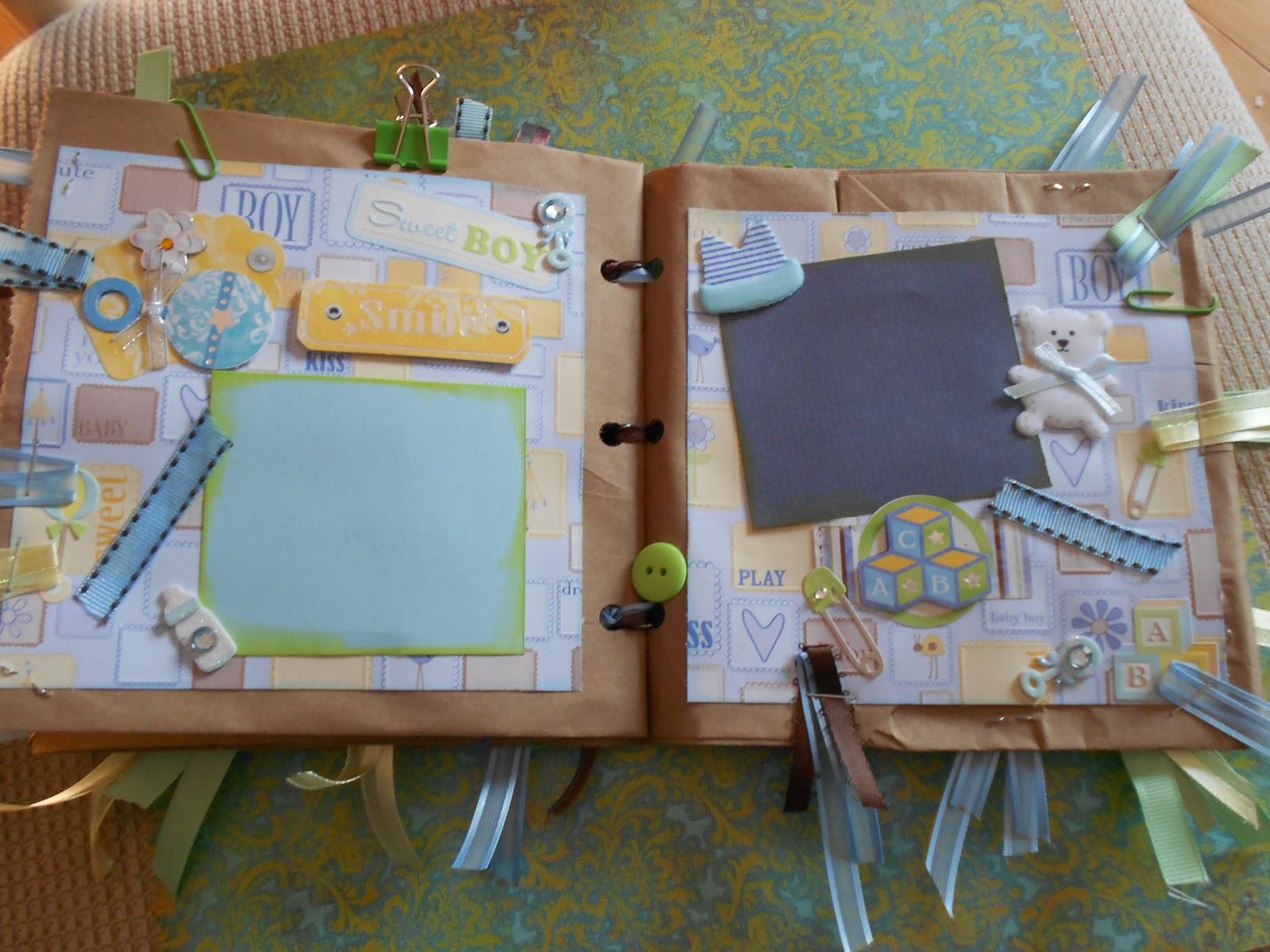How to scrapbook a baby album - Baby Boy Paperbag Scrapbook Album