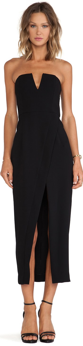 SHONA JOY THE MINIMALIST BUSTIER CROSS OVER MAXI DRESS