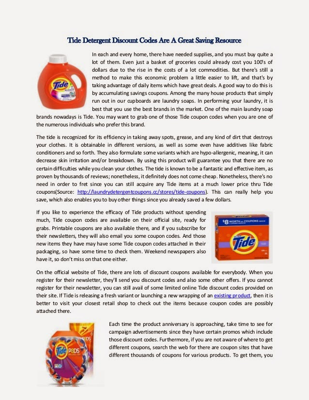 Coupons for tide free