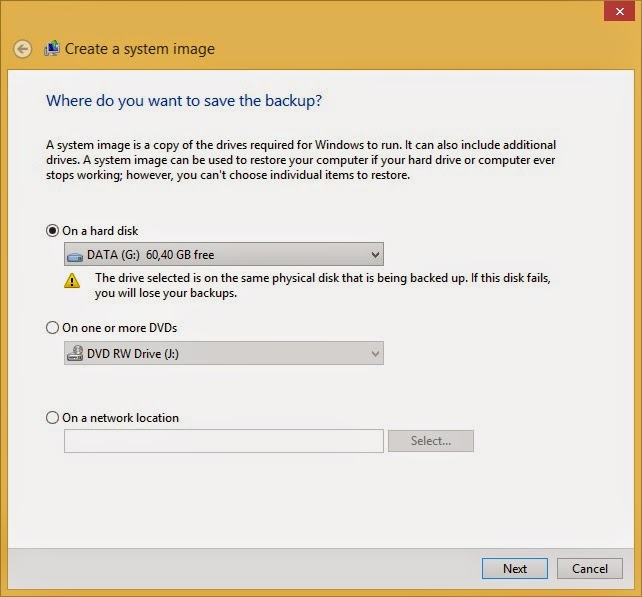 Membuat Backup System Image Windows 8.1
