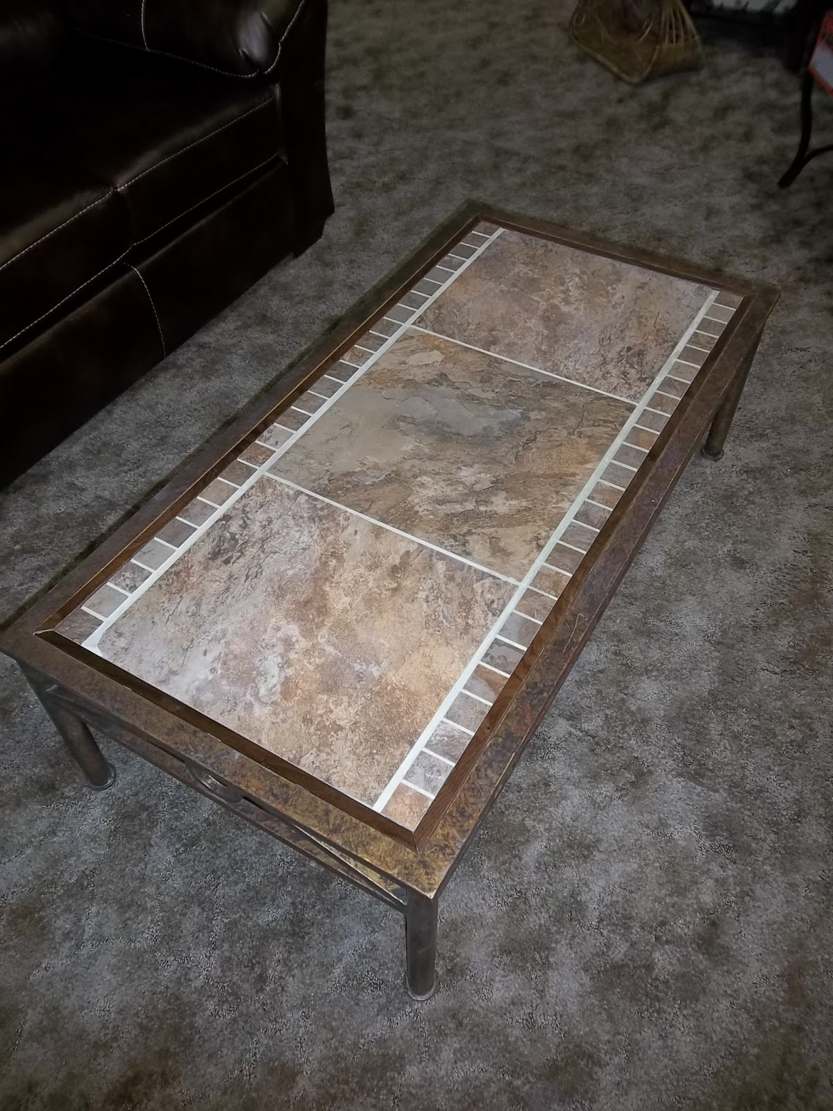Metal Stone Tile And Walnut Trimmed Coffee Table