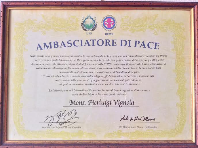 Don Pierluigi Vignola nominato Ambasciatore di Pace