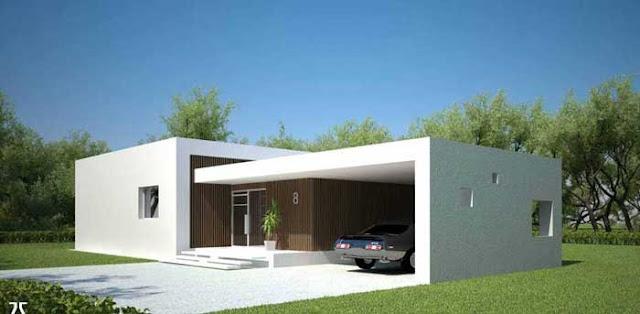Plano y fachada de casa minimalista de un nivel con for Cocheras minimalistas