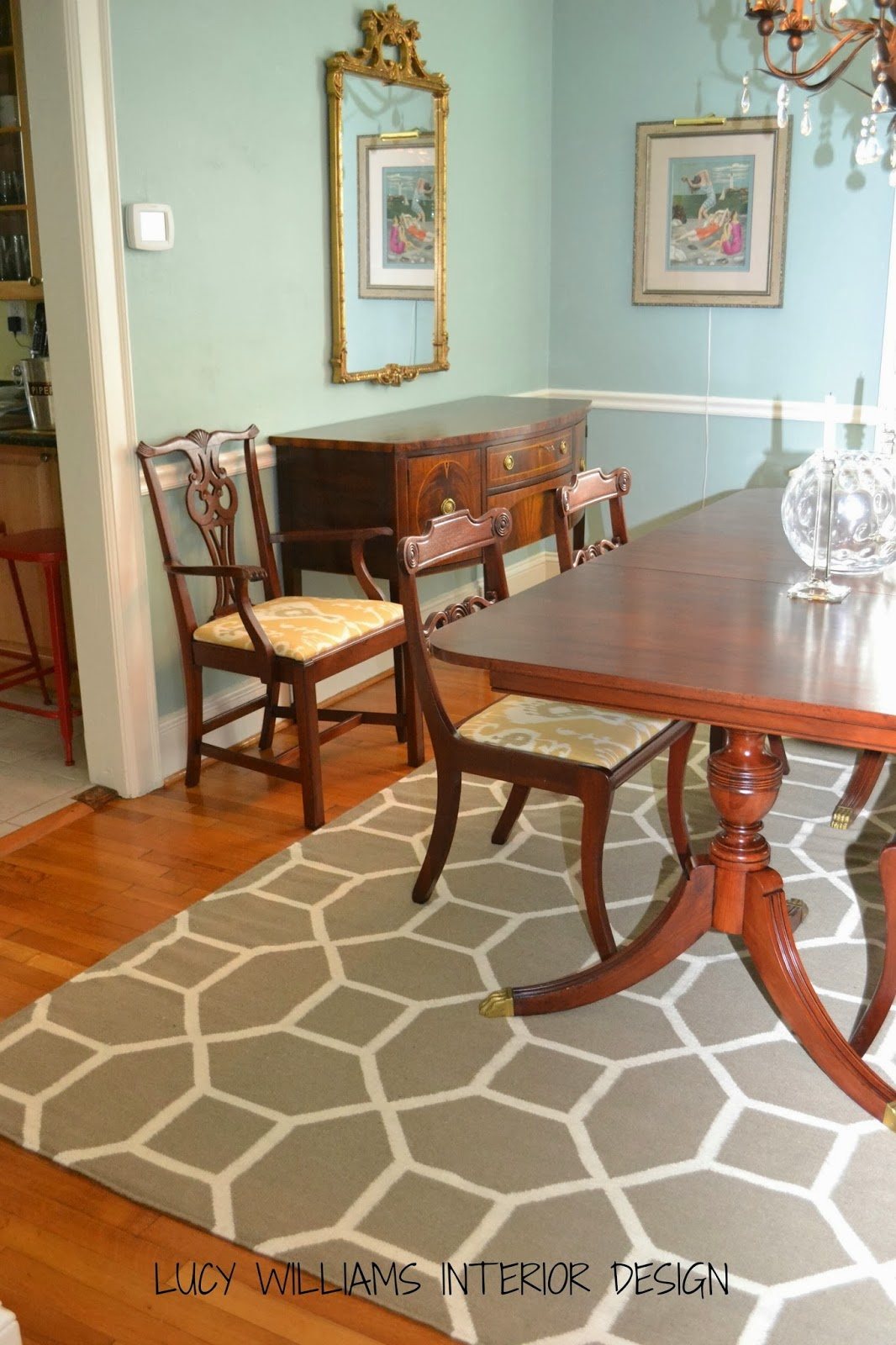 LUCY WILLIAMS INTERIOR DESIGN BLOG: BEFORE AND AFTER: DINING ROOM RUG!