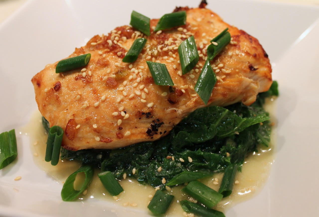 ... Out: Ginger-Garlic Broiled Salmon with Miso-Braised Mustard Greens