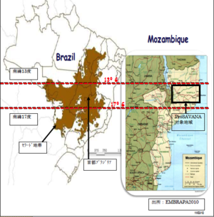 Slide from a presentation by Mozambique's Ministry of Agriculture  about the ProSavana project at the Triangular Conference of the People, showing how ProSavana seeks to emulate the rapid expansion of soybean plantations that occured in Brazil's Cerrado.