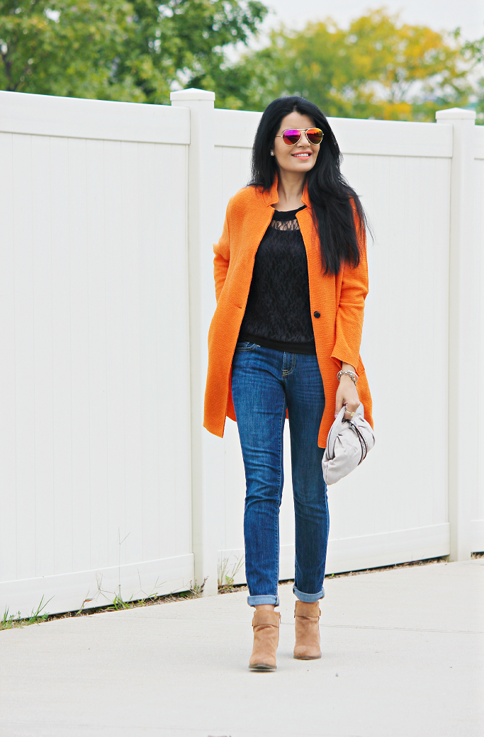 Zara Coats, Zara Orange Coat, Colorful Coats, Pumpkin Color Coat, Bright Color Coats, Mirrored Aviators