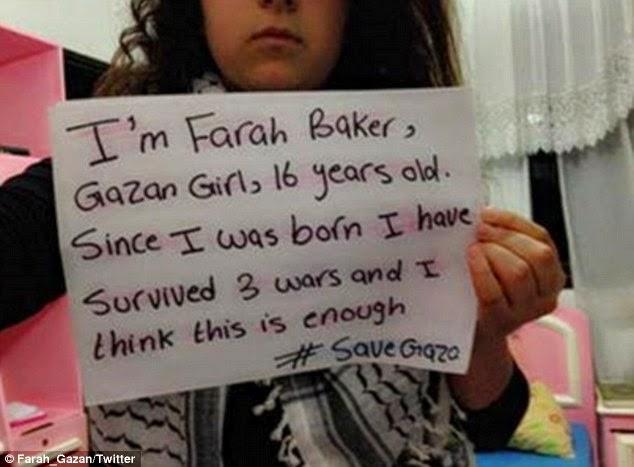 Farah Baker remaja Palestin yang popular di Twitter kerana selalu cerita keadaan kronik dan derita di Gaza