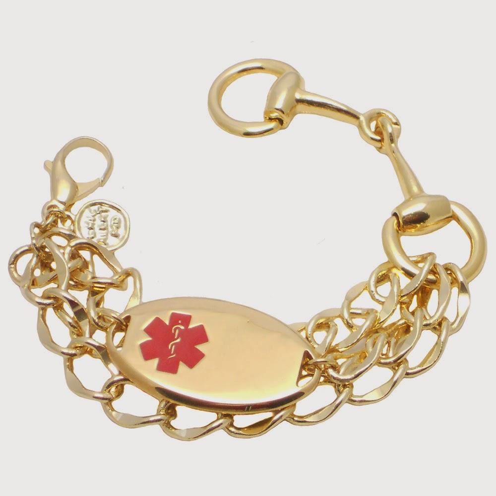 3Row Chain & Horse Bit Medcial ID Bracelet