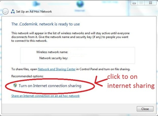 Turn on Internet Connection Sharing