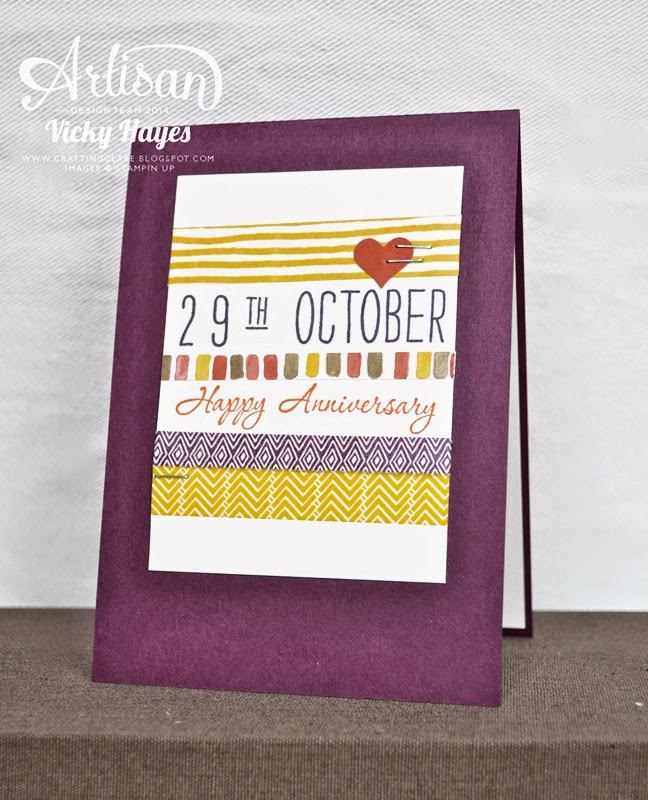 UK Stampin' Up demonstrator Vicky Hayes uses washi tape to create a quick anniversary card for a man