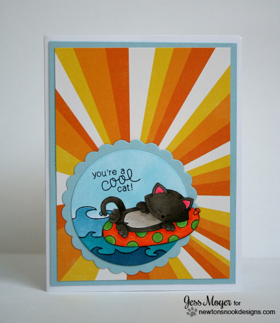 Kitty Beach Card by Jess Moyer for Newton's Nook Designs - Inky Paws Beach Challenge
