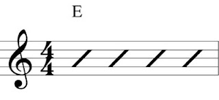 E chord with slash marks per measure