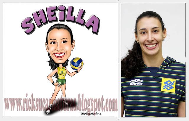 caricatura da seleção brasileira de voley jogadora Sheilla