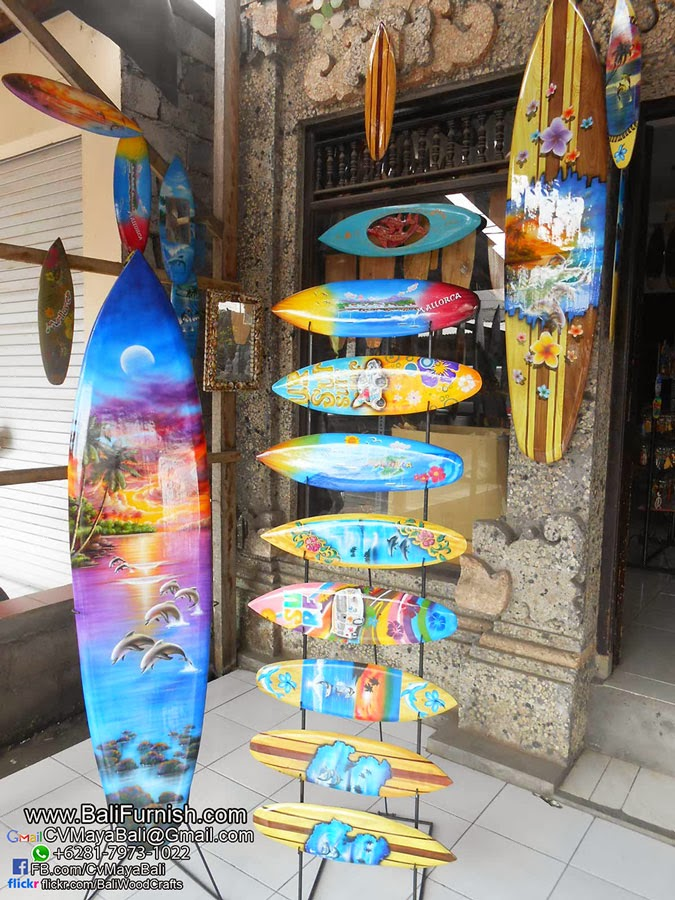 Airbrush surfboards wood decorations from bali indonesia for Bali decoration accessories