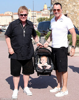 Sir Elton John, David Furnish and their son Zachary