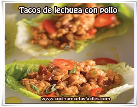 Recetas mexicanas, tacos de lechuga con pollo