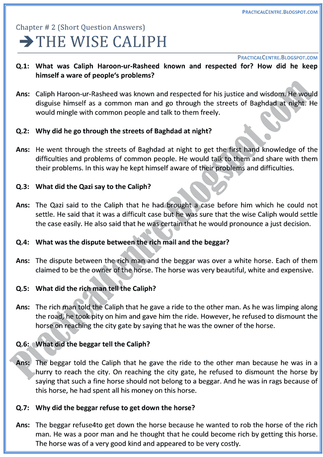 the-wise-caliph-questions-answers-english-x