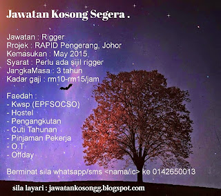 Jawatan Kosong Rigger Rapid Pengerang Johor