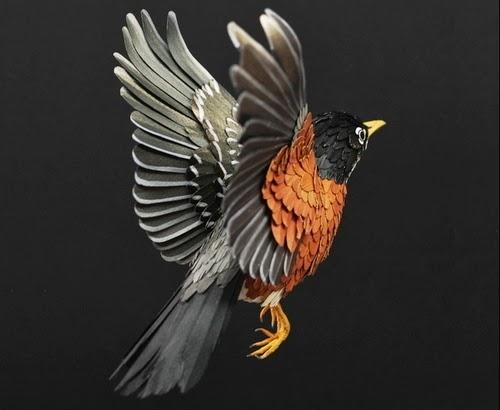 01-American-Robin-Paper-Bird-Sculptures-Colombian-Artist-Diana-Beltran-Herrera-www-designstack-co