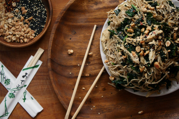 girlichef: Peanut-Sesame Soba Noodles w/ Chicken & Kale {#WeekdaySupper}