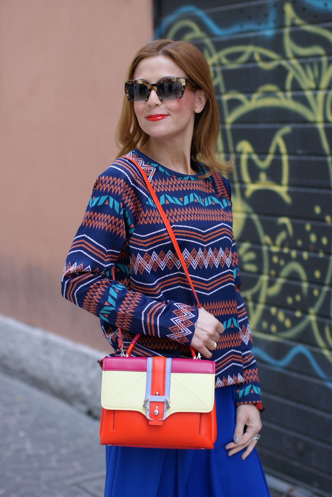 Colorful outfit with wide leg palazzo pants, Miu Miu rasoir sunglasses and Paula Cademartori Petite Faye bag on Fashion and Cookies fashion blog, fashion blogger style