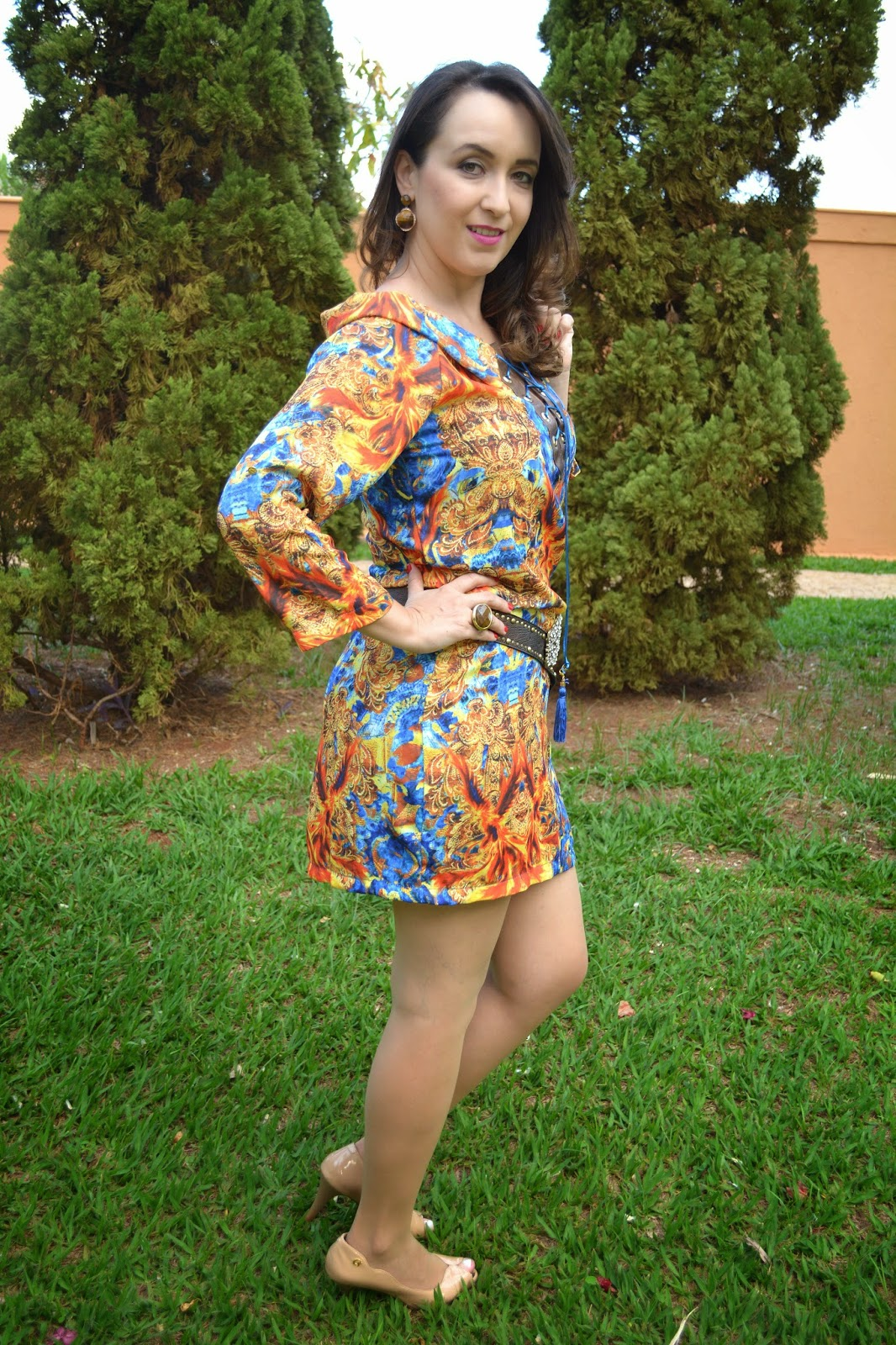 vestido estampado, vestido verão, fashion blogger, blog camila andrade, blog de moda de ribeirão preto, look do dia, dujour, cinto nude, sapato nude