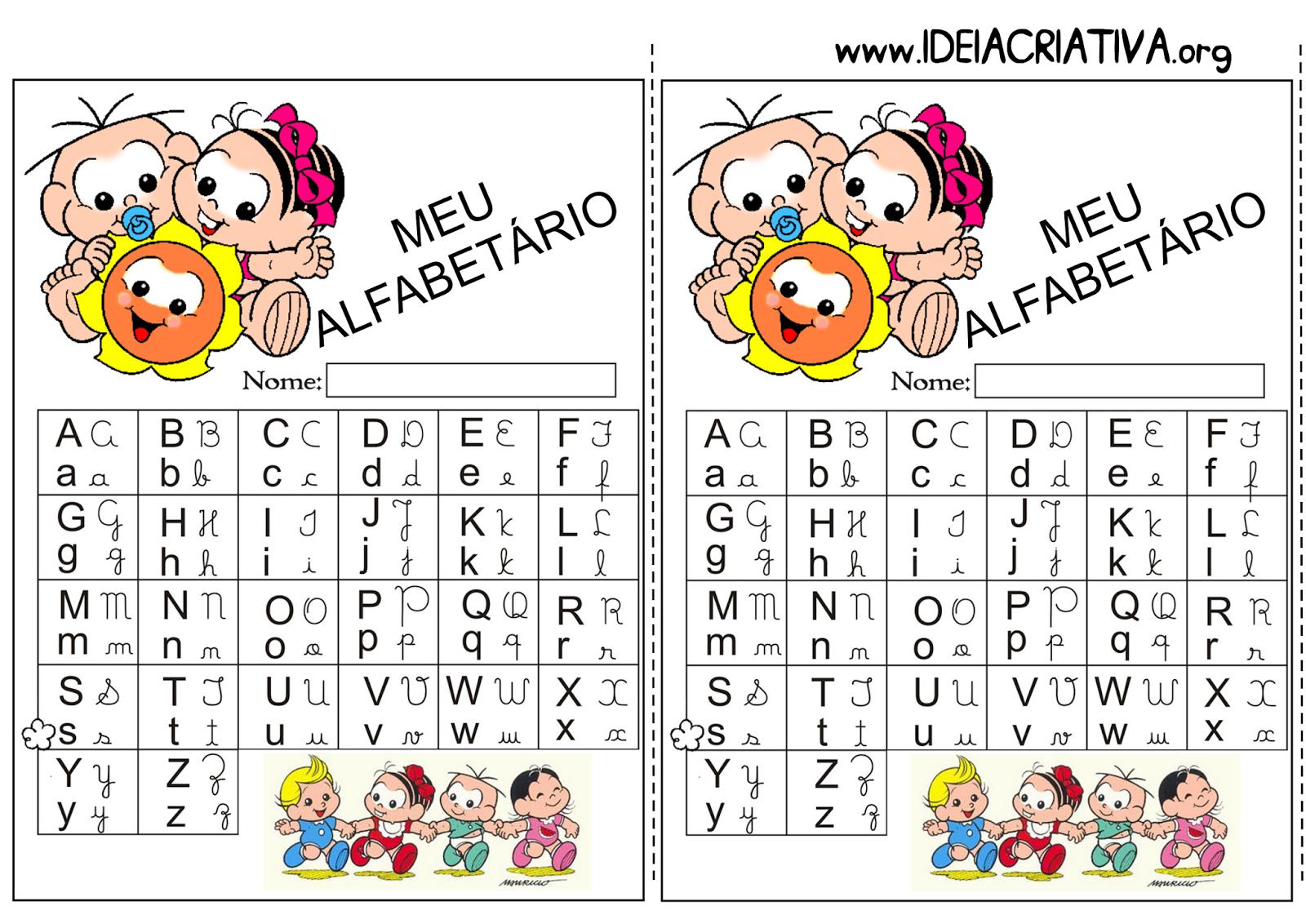 Alfabetário para imprimir Turma da Mônica Baby