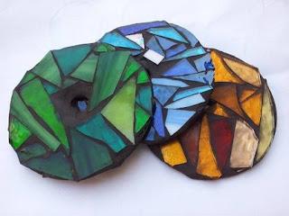 Posavasos Estilo Mosaico con Cds Reciclados