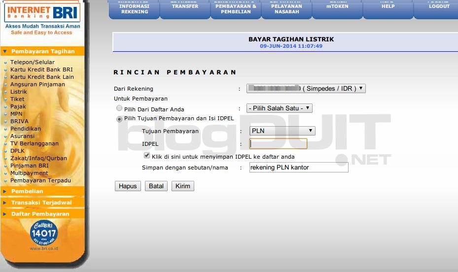 bri internet banking - tagihan listrik online