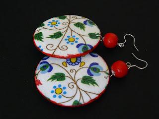 biżuteria decoupage - kaszubski komplet (kolczyki)