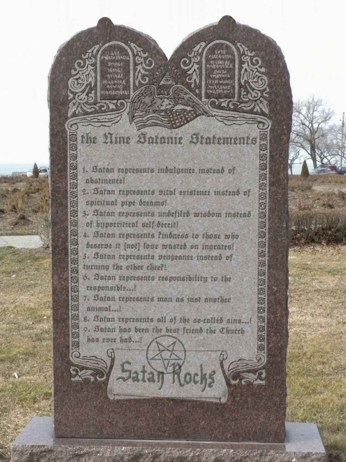 The Nine Satanic Statements monument