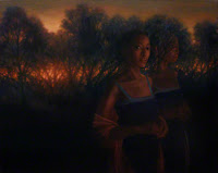 Figurative landscape at dusk with images of same person somewhat ghostlike