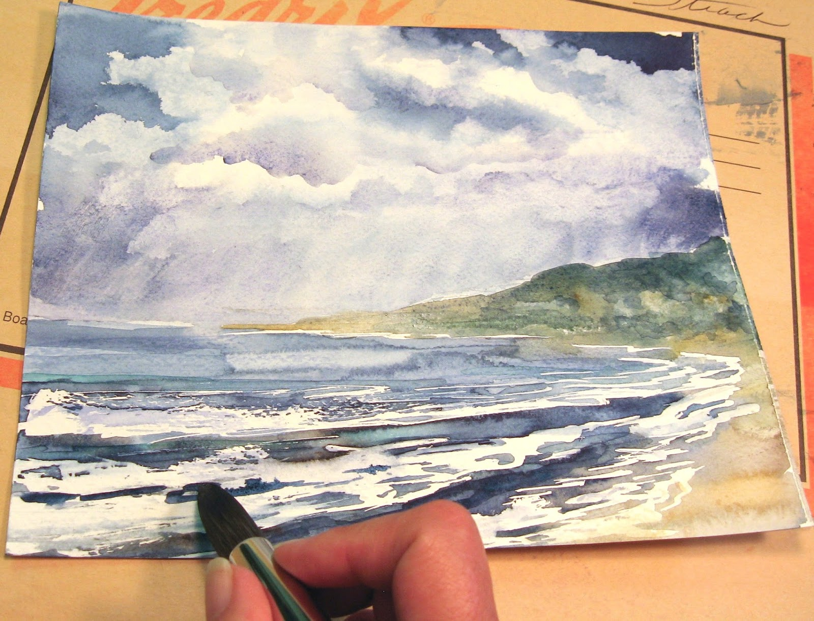 Annie strack news how to paint a stormy seascape in for Watercolor tutorials step by step