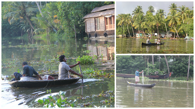 People at work on backwaters