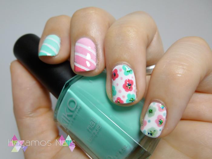 Nail Art Florecillas y degradado pastel. Cuqui Concurso Hagamos Nails
