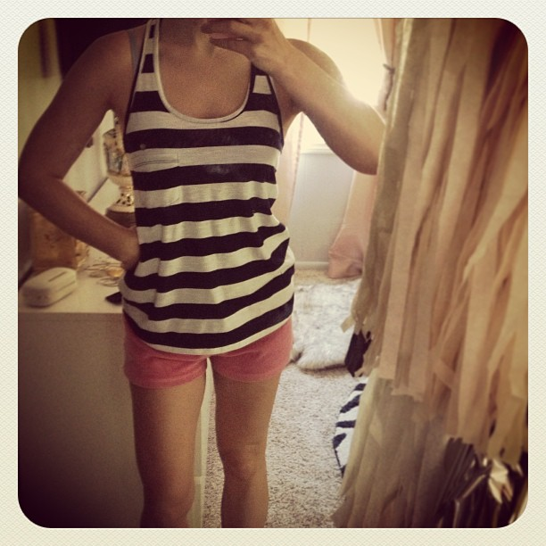 striped tank and shorts