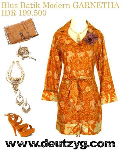 Model Dress Kerja on Blus Batik Lengan Panjang Dengan Model Kerah Blezer Batik Dress