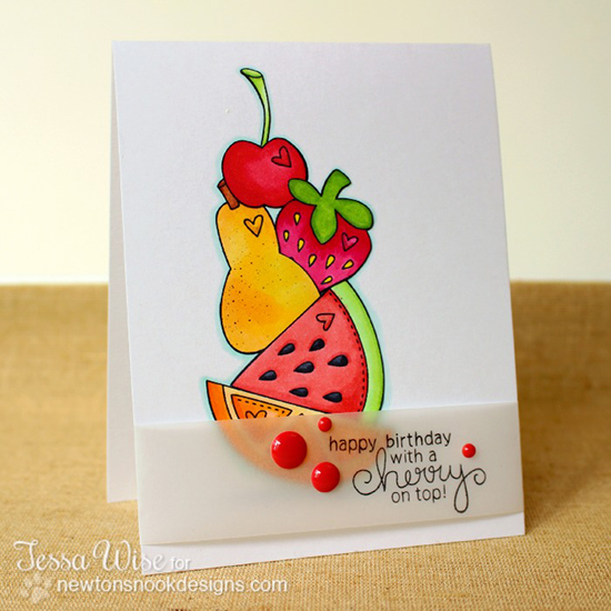 Fruit card by Tessa Wise | Sweet Summer Stamp Set | Newton's Nook Designs