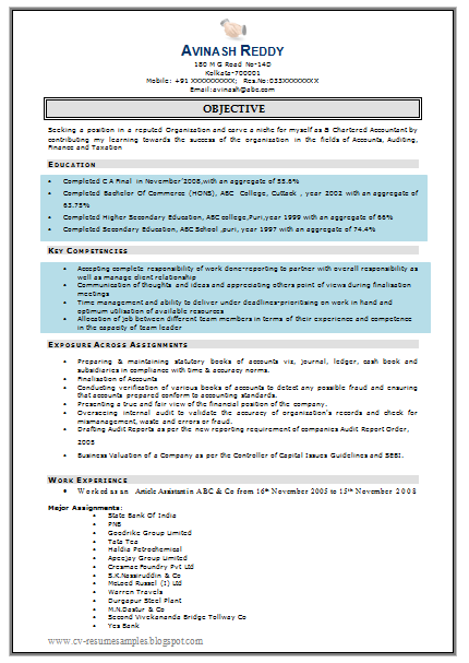 Free Download Link for Good Chartered Accountant Resume Sample for Fresher  in Word Doc (2 Page Resume)