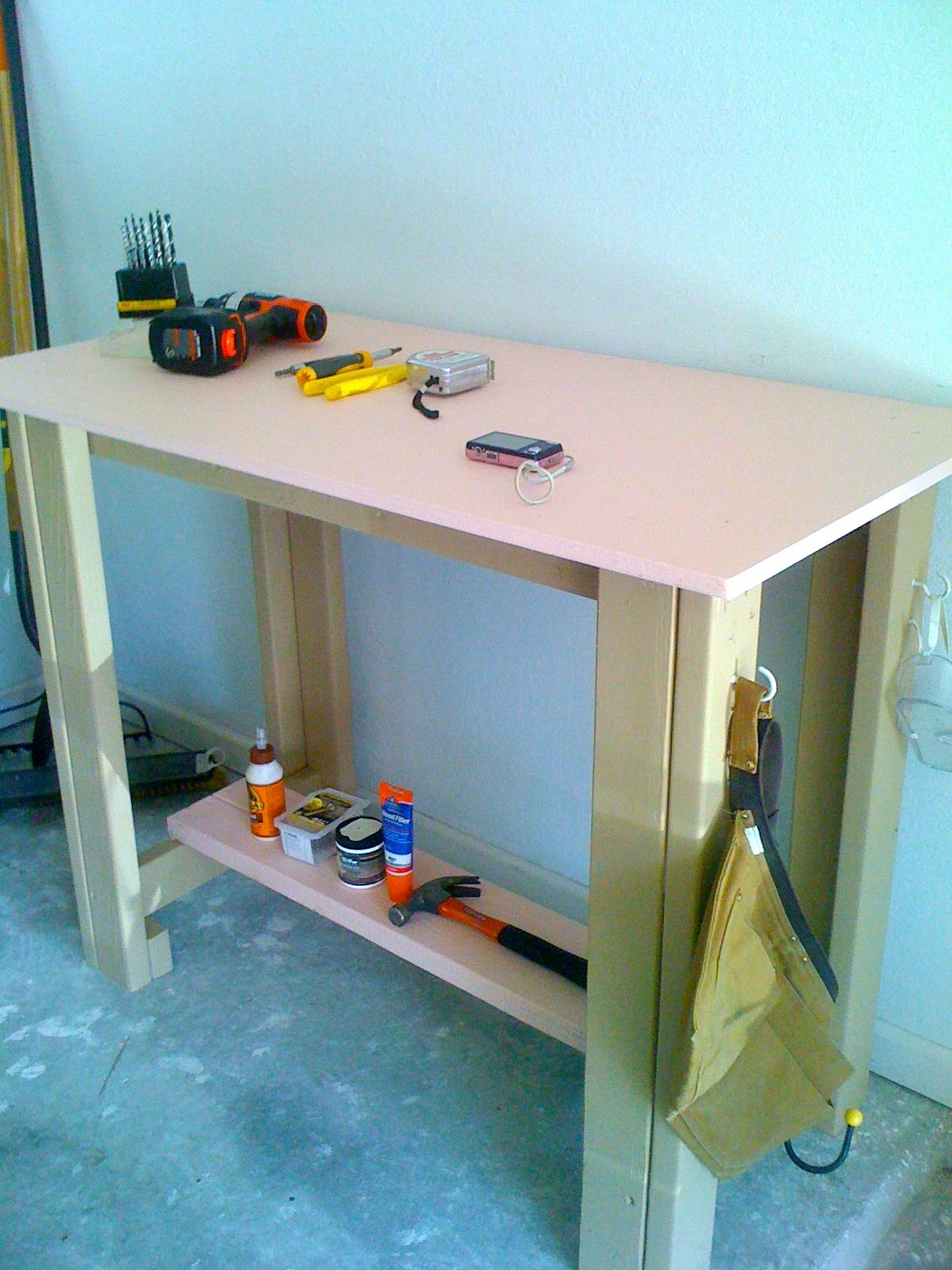 Secret agent man building the sturdy work bench