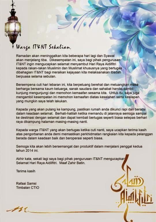 Salam Lebaran dari CTIO untuk ITNT Group