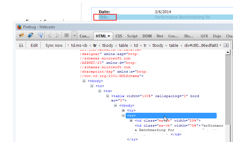 Sharepoint explorations html title tag manipulation in for Html table title