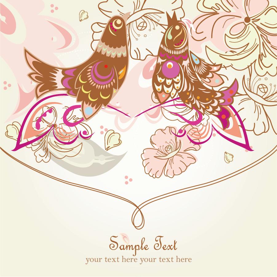 鳥と花の線画の背景 line art pattern background イラスト素材