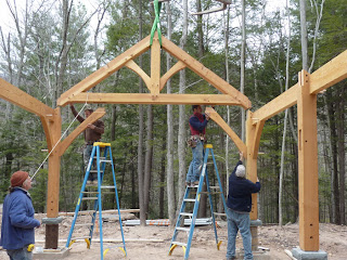timber frame raising in the catskills region of new york