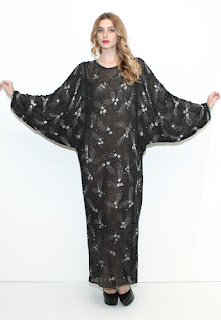 Vintage 1970's black silk batwing maxi dress with silver beading