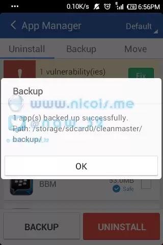 proses menyimpan mentahan file apk dengan app clean master