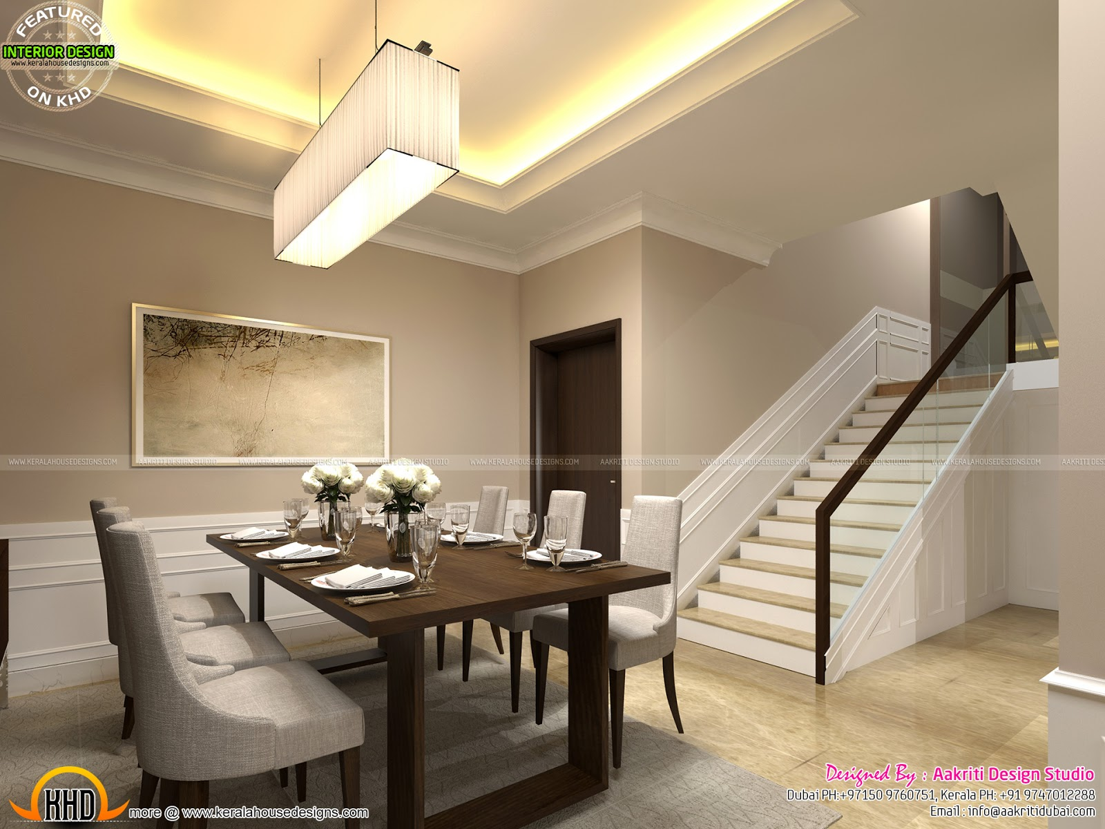 Classic style interior design for living room stair area for Dining room designs kerala