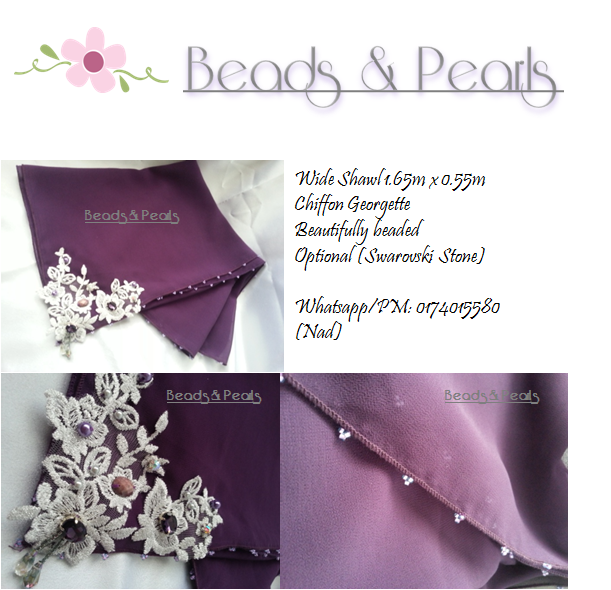 Tudung beads, shawl manik lace