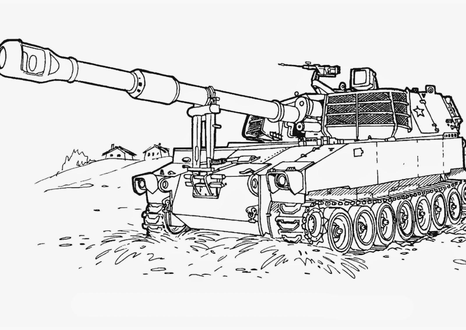 Free coloring pages army tanks